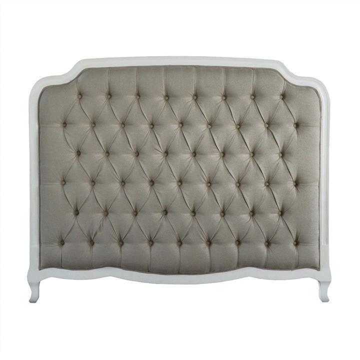 Susan Tufted Linen & Oak Timber Bed Headboard, Queen, White / Oatmeal
