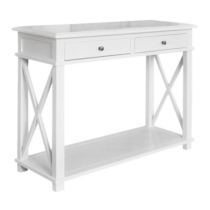 Phyllis Birch Timber 2 Drawer Console Table, 110cm, White