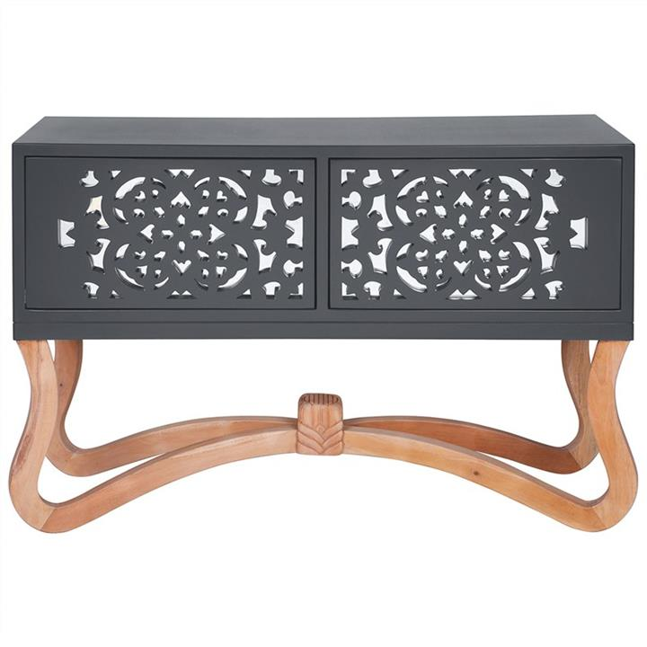 Sienna Wooden Ornamental 2 Door Low Console Table,  Grey/Natural