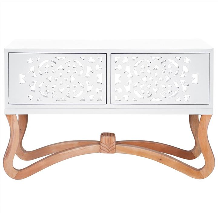 Sienna Wooden Ornamental 2 Door Low Console Table, White/Natural