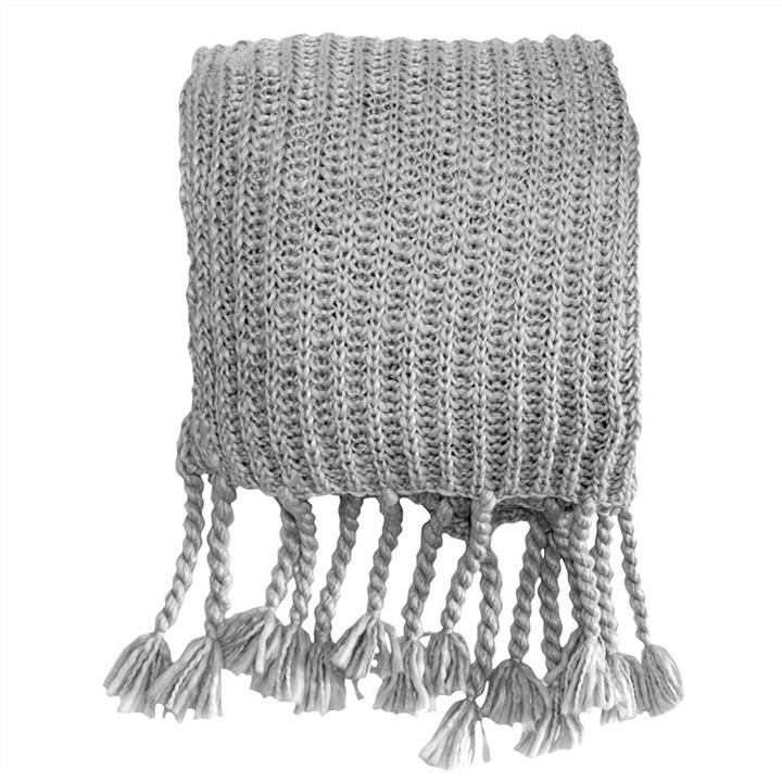 Saran Knitted Chunky Throw, Silver
