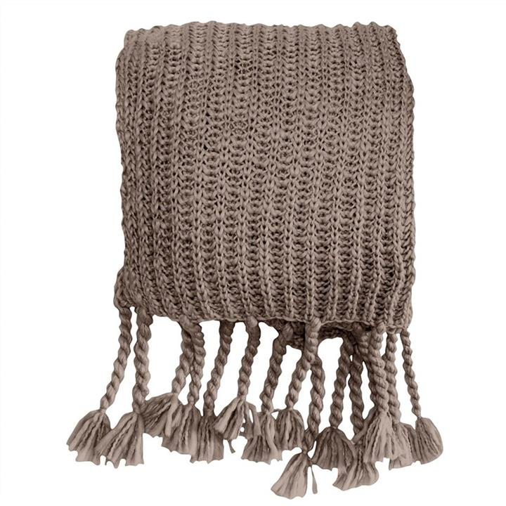 Saran Knitted Chunky Throw, Taupe