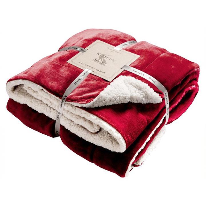 Kilburn & Scott Sherpa Double Sided Flannel Throw, Red