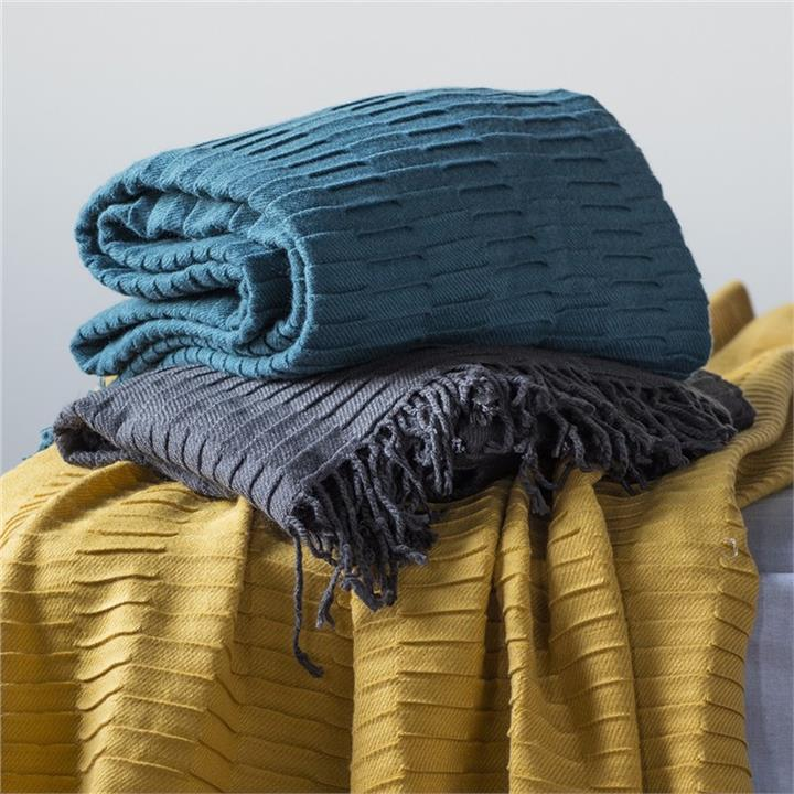 Linear Pleat Cotton Throw, Charcoal
