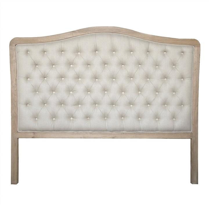 Maison Tufted Linen & Oak Timber Bed Headboard, Double, Weathered Oak / Oatmeal