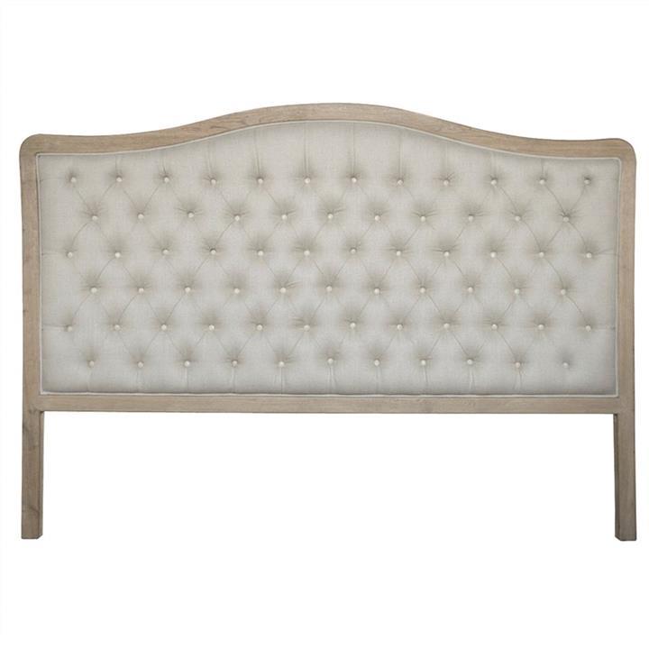 Maison Tufted Linen & Oak Timber Bed Headboard, King, Weathered Oak / Oatmeal
