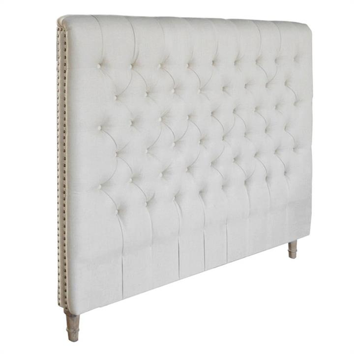 Chesterfield Tufted Linen Bed Headboard, Double, Oatmeal