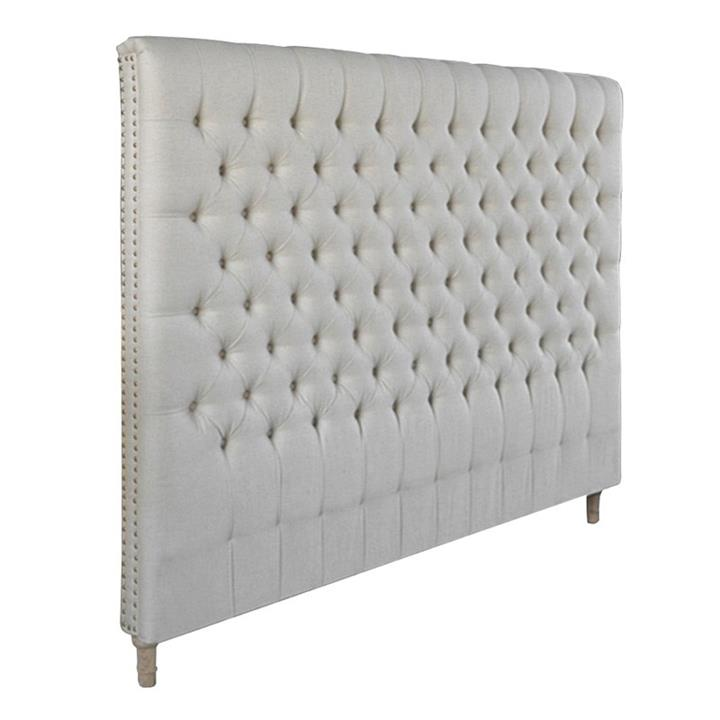 Chesterfield Tufted Linen Bed Headboard, King, Oatmeal