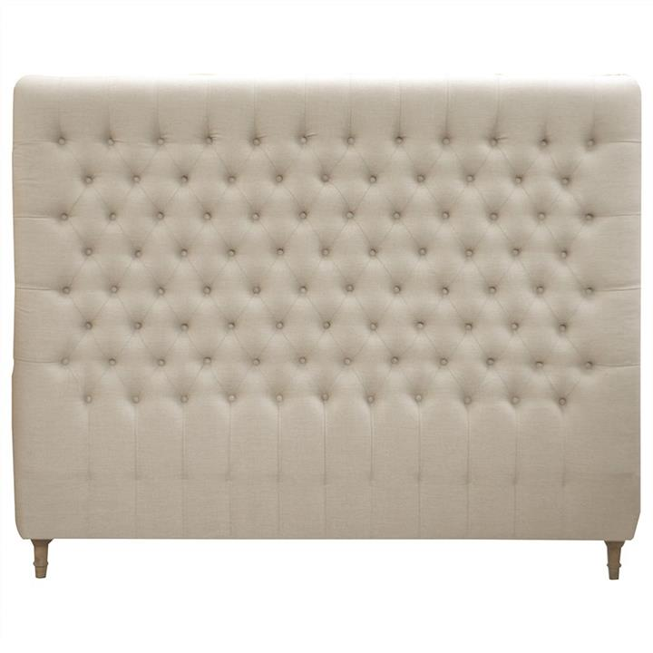 Chesterfield Tufted Linen Bed Headboard, King, Natural