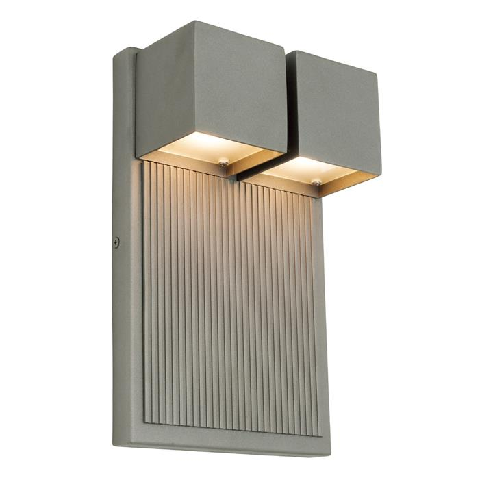 Tucson IP44 Exterior LED Wall Light, Pewter