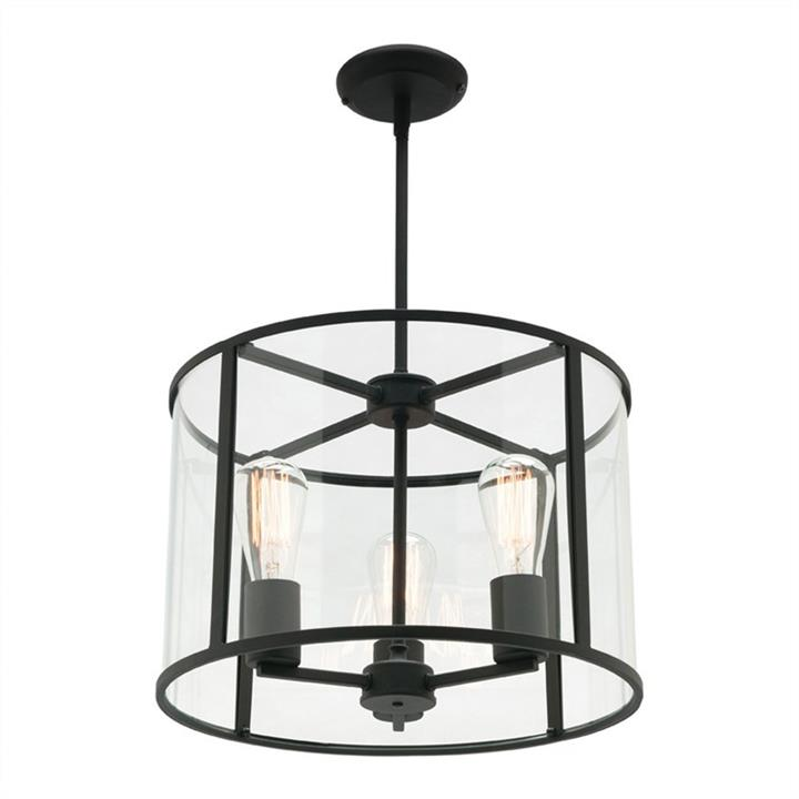 Liverpool Metal and Glass Round Pendant Light, Small