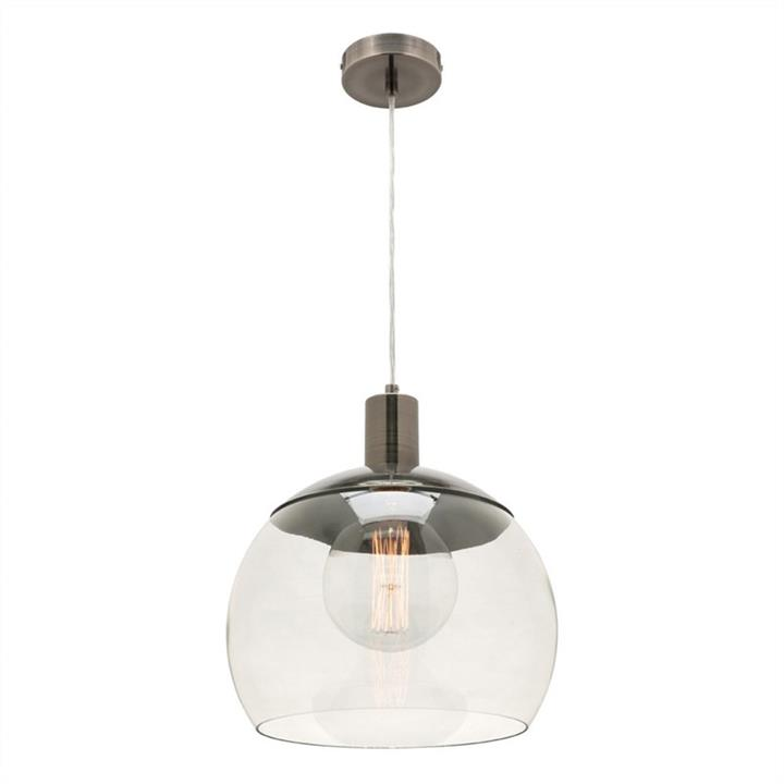 Tammy Glass and Metal Pendant Light, Large, Pewter