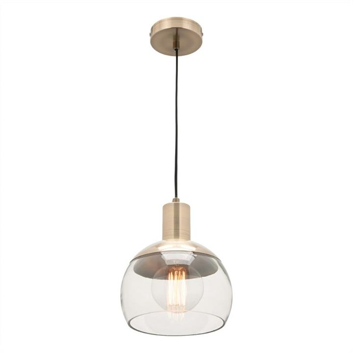 Tammy Glass and Metal Pendant Light, Small, Brass