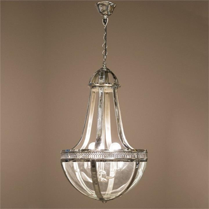 Doma Metal and Glass Pendant Light, Silver