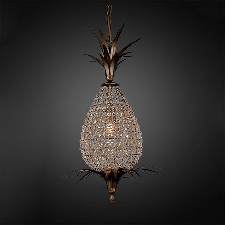 Picaso Cut Glass and Metal Pineapple Pendant Light, Small