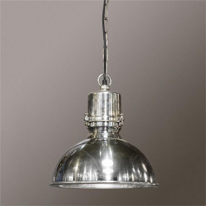 Augusta Metal Pendant Light, Large, Antique Silver