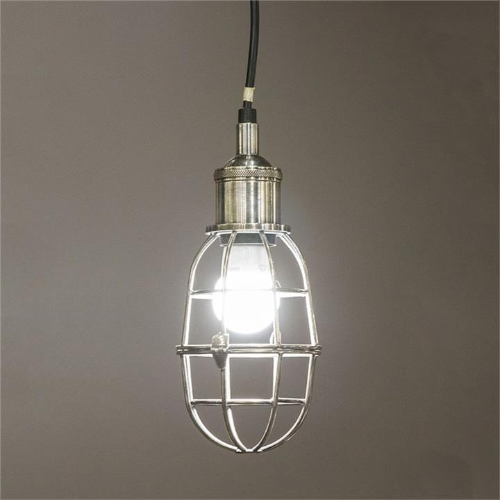 Lincoln Metal Cage Shade Pendant Light, Antique Silver