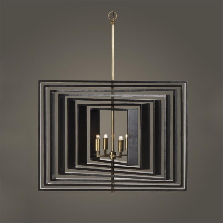 Galaxy Metal and Wood Spiral Pendant Light