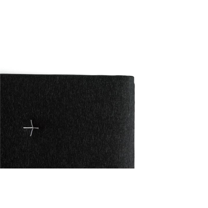 Samantha's Fabric Headboard, King, Charcoal / White Stitch