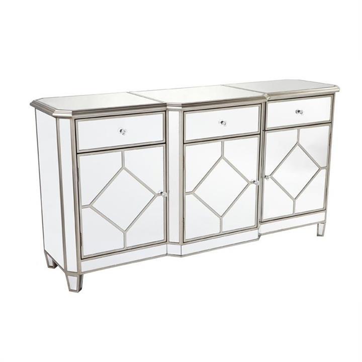 Kensington Mirrored Glass 3 Door 3 Drawer Buffet Table, 160cm