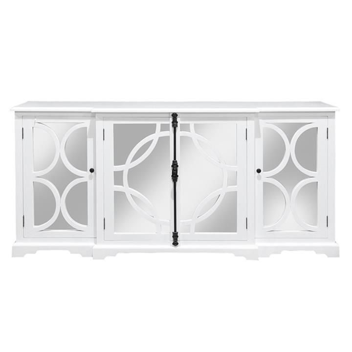 Keats Wood & Mirror 4 Door Sideboard, 200cm, White