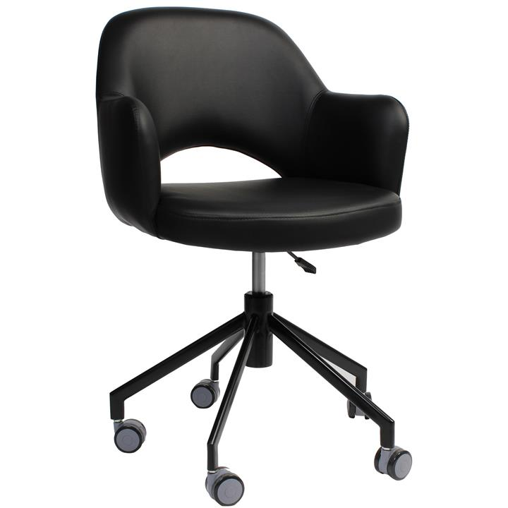 Albury Commercial Grade Gas Lift Vinyl Office Armchair, Black