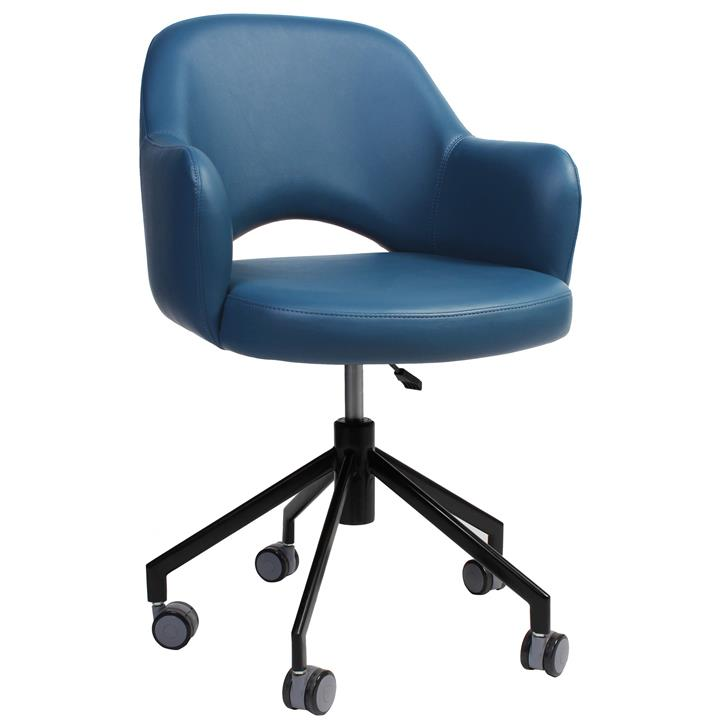 Albury Commercial Grade Gas Lift Vinyl Office Armchair, Blue / Black