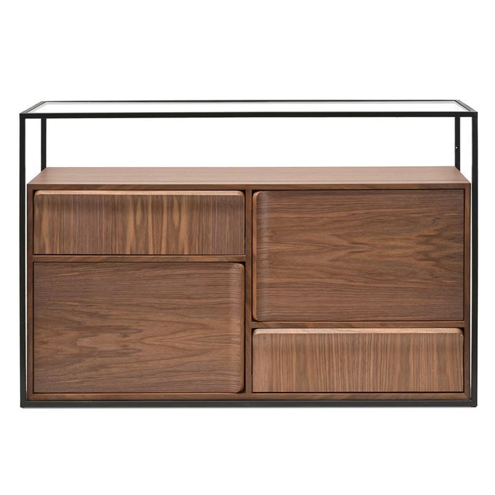 Caveat 2 Door 2 Drawer Buffet Table, 120cm, Black / Walnut