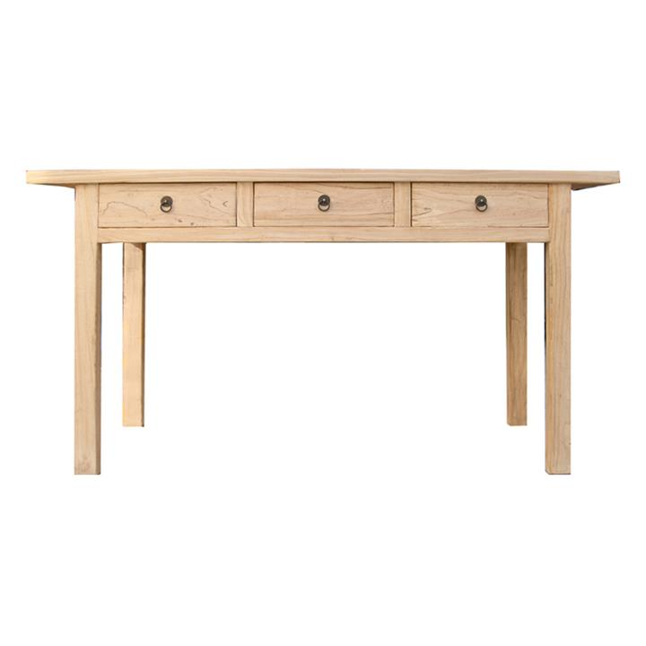 Kuto Elm Timber 3 Drawer Console Table, 150cm