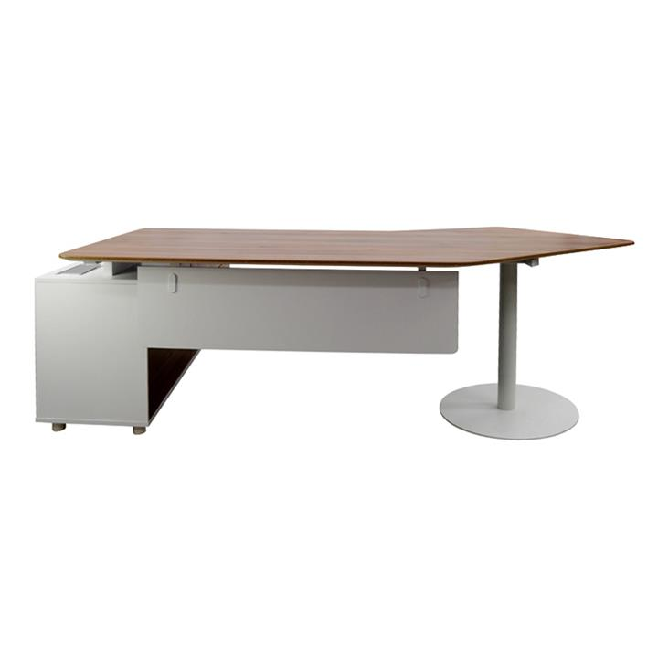 Fiat Executive Office Desk with Right Return, 252cm, Walnut / White