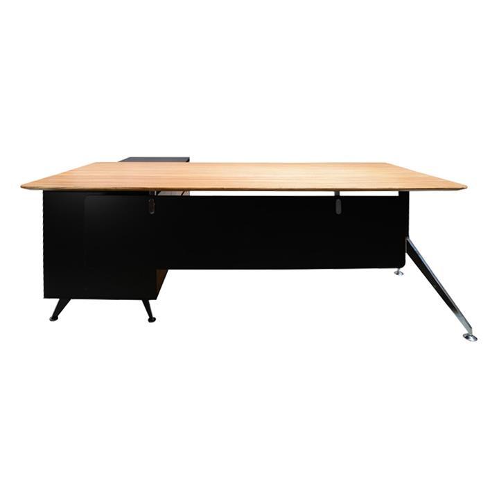 Milando Executive Office Desk with Right Return, 195cm, Zebra Oak / Black