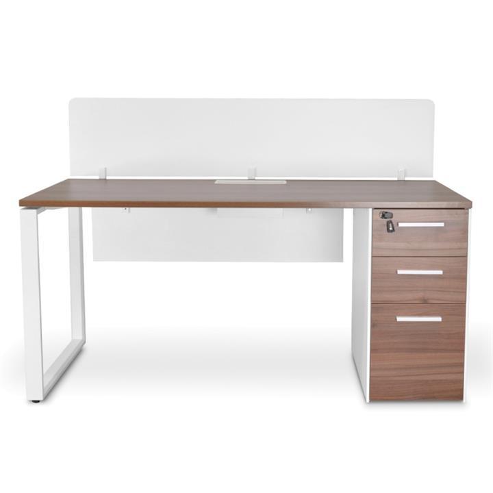Lacasa Office Desk with Privacy Screen, 160cm, Walnut / White