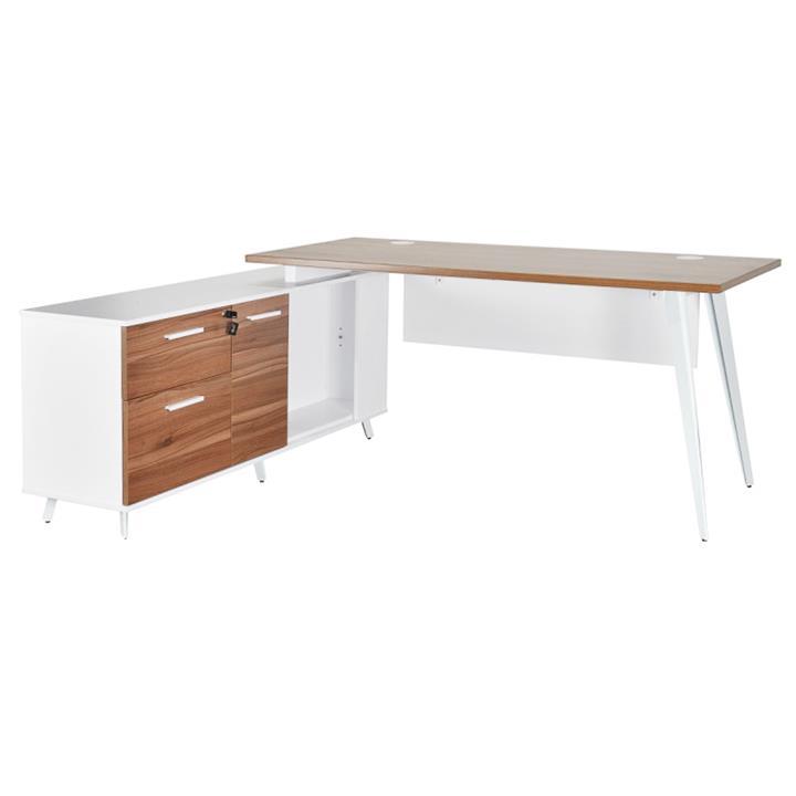 Localita Executive Office Desk with Left Return, 160cm, Walnut / White