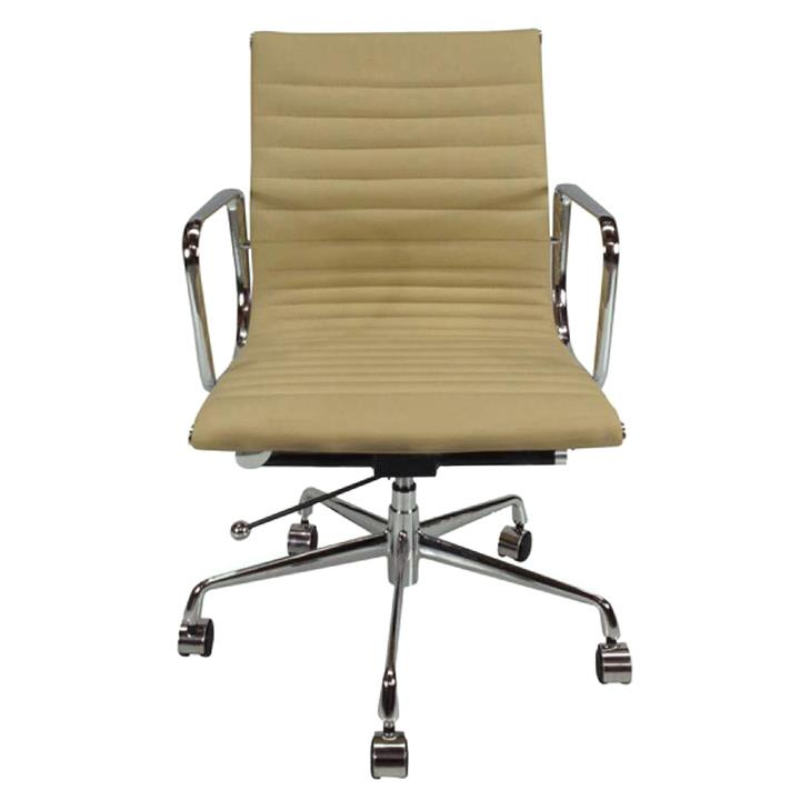 Replica Eames Aluminium Group Management Chair, Premium Leather, Light Brown