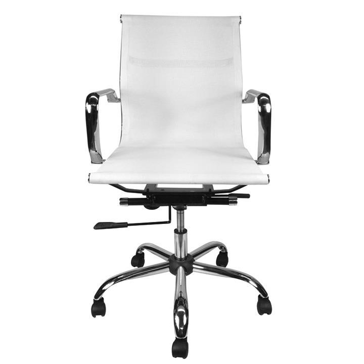 Replica Eames Aluminium Group Management Chair, Elastomeric Mesh, White