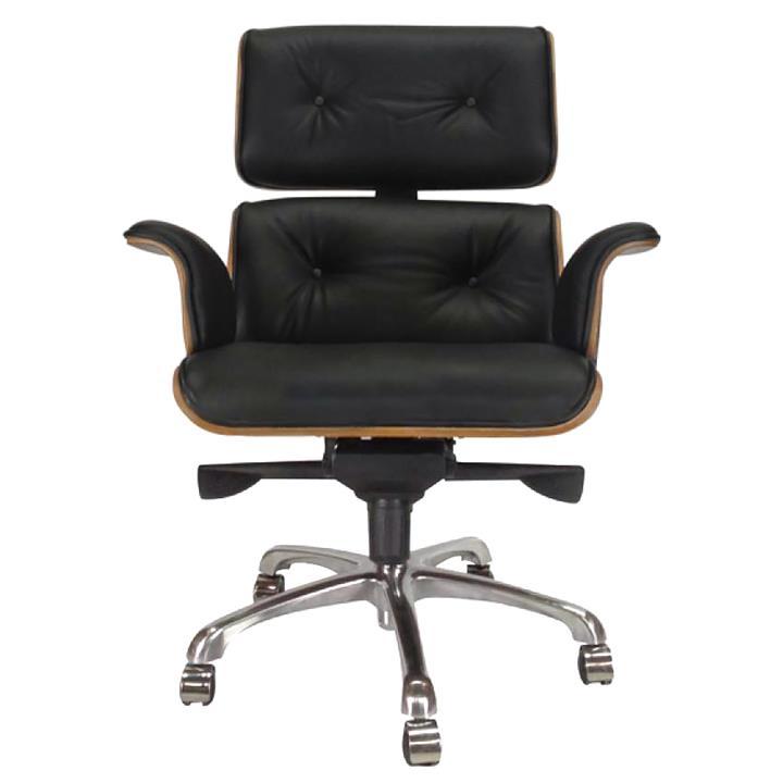 Replica Eames Leather Executive Desk Chair, Black / Walnut
