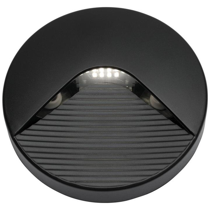 Justin IP65 LED Round Indoor/Outdoor Step / Wall Light, Black