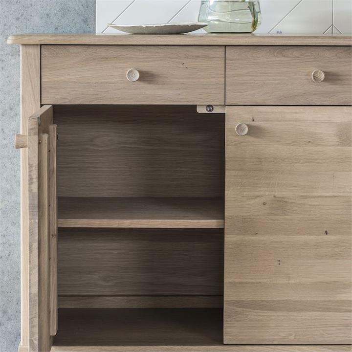 Willem Oak Timber 3 Door 3 Drawer Sideboard, 140cm, Natural