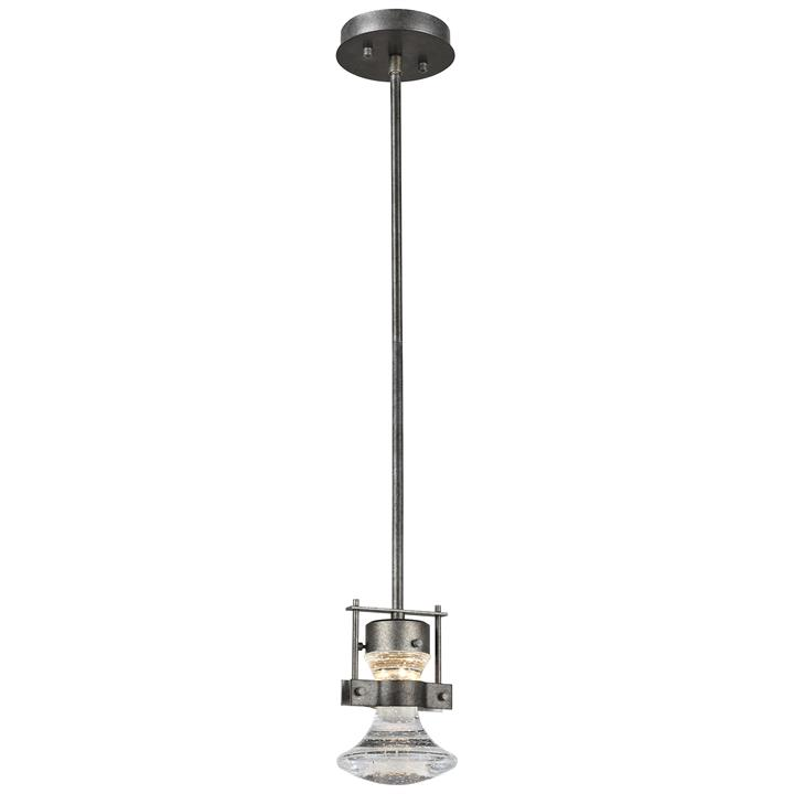 Elko Steel & Crystal Glass LED Pendent Light, Small