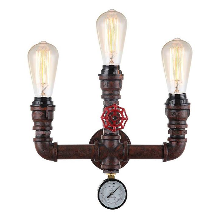 Steam Aged Iron Pipe 3 Light Wall Sconce