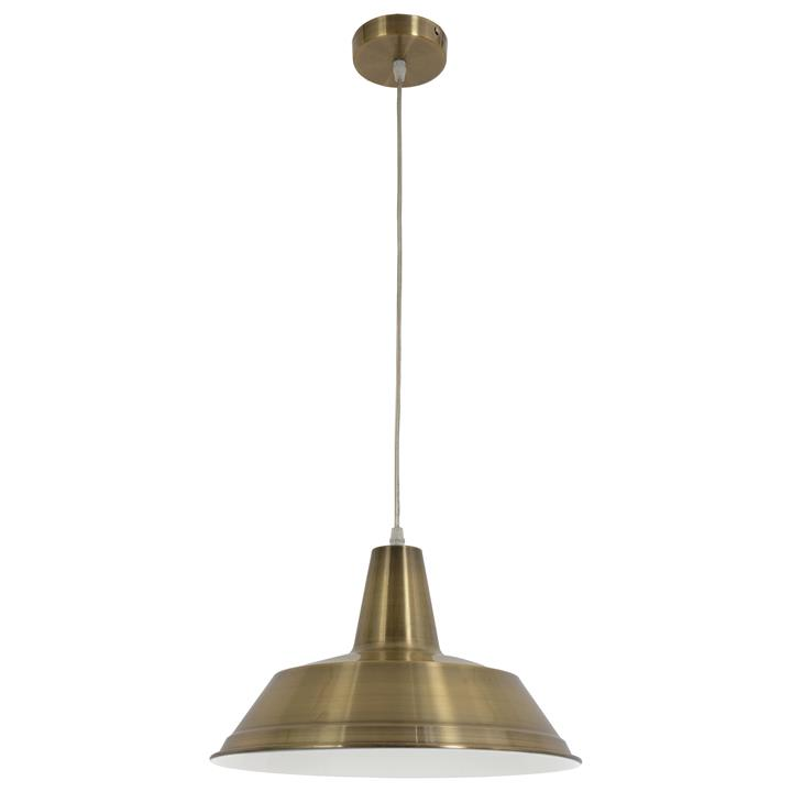 Divo Industrial Steel Pendant Light, Antique Brass