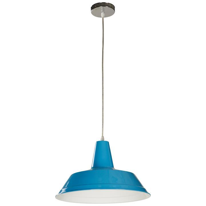 Divo Industrial Steel Pendant Light, Blue