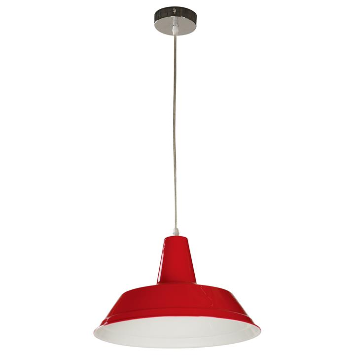 Divo Industrial Steel Pendant Light, Red