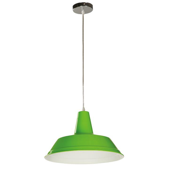 Divo Industrial Steel Pendant Light, Green