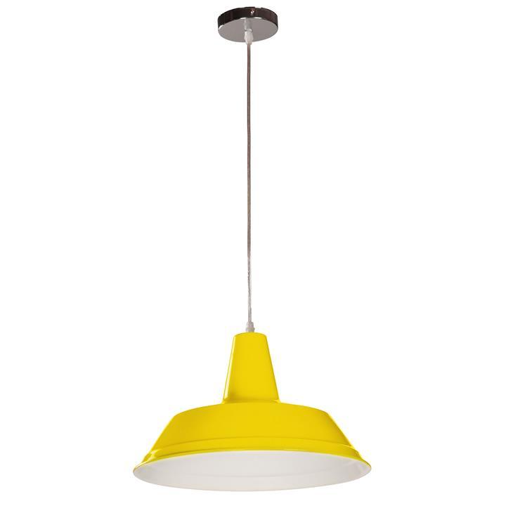 Divo Industrial Steel Pendant Light, Yellow