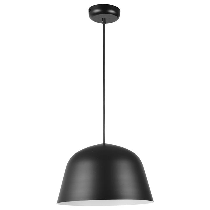 Pastel Iron Pendant Light, Angled Dome, Matt Black