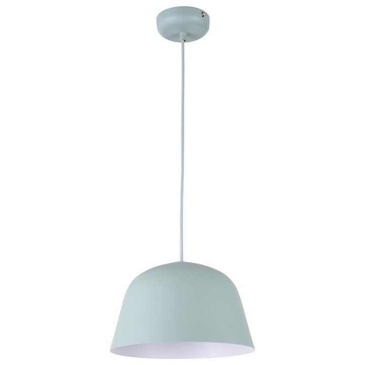 Pastel Iron Pendant Light, Angled Dome, Matt Green