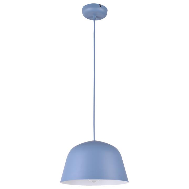 Pastel Iron Pendant Light, Angled Dome, Matt Blue