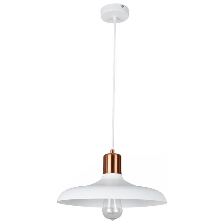 Pastel Iron Pendant Light, Flat Dome, Matt White