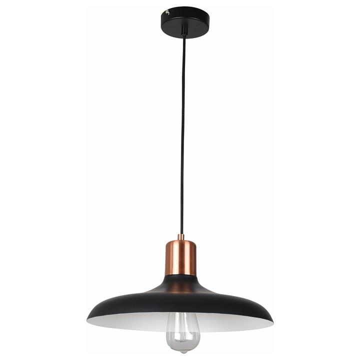 Pastel Iron Pendant Light, Flat Dome, Matt Black